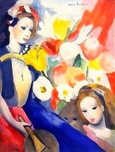 Spielende Mädchen mit Blumen / Playing girl with flowers, Marie Laurencin. French - - Color Lithgraph on Wove Paper - Art And Illustration, Illustrations, Art Floral, Art Français, Georges Braque, Girls With Flowers, Art Moderne, French Artists, Portrait Art