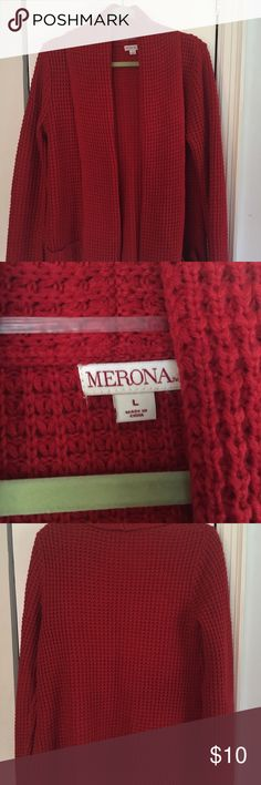 Merona chunky knit red cardigan NWOT L Cozy, oversized red cardigan in a chunky shaker knit. Hits below the butt, so perfect to wear with a chambray button-down and leggings. New without tags in perfect condition. Merona Sweaters Cardigans