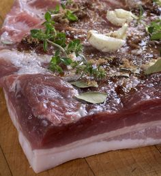 Anthony Bourdain's friend Ruhlman's Home-Cured Bacon. Sounds more like pancetta since it's not smoked. Definitely tying this with some tweeking. Juniper Berries? Not sure they are necessary.