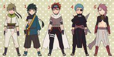 [OPEN] Adoptable Set 3 - Set Price by tsurugami on DeviantArt Anime Oc, Naruto Anime, Naruto Shippuden Anime, Anime Guys, Male Manga, Ninja Outfit, Naruto Clothing, Naruto Oc Characters, Anime Ninja