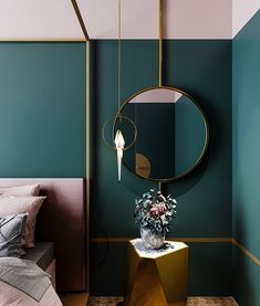 Love this luxurious and feminine bedroom, with gold lines and geometric shapes, in blush pink and rich green. Green Rooms, Bedroom Green, Pink Gold Bedroom, Pink Green Bedrooms, Jewel Tone Bedroom, Burgundy Bedroom, Bedroom Color Schemes, Bedroom Colors, Green Bedroom Decor