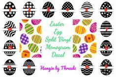 Easter egg split vinyl decal-easter egg-easter basket decal-easter bucket decal-easter monogram-yeti cup decal-car decal-vinyl sticker-egg- by HANGINBYTHREADZ on Etsy