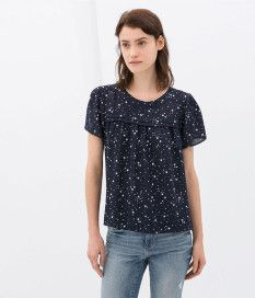 Simple O Neck Short Sleeve Lace Up Stars Pattern Blouses For Women $15