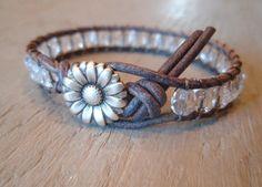 Shabby chic leather wrap bracelet All Clear crystal by slashKnots, $35.00