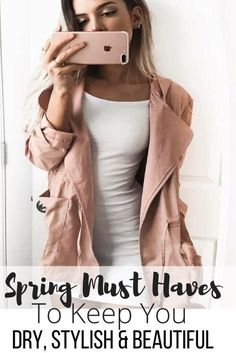 Spring Season Must Haves to Keep You Dry, in Style & Beautiful. Rain coat, boots, runners, Too Faced makeup