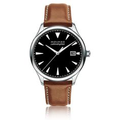<p>Men's Movado Heritage Series Calendoplan watch, 40 mm stainless steel case with fluidly extended lugs, round black 3-hand dial with luminescent silver-toned hands and applied markers, printed white minute index, and date display, cognac leather strap with white top-stitching and stainless steel buckle.</p>