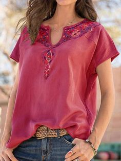 Casual Long Sleeve Round Neck Plus Size Tops Bohemian Tops, Bohemian Blouses, Bohemian Shirt, V Neck Blouse, Short Sleeve Blouse, Long Sleeve Shirts, Short Sleeves, Moda Hippie, Blouses For Women