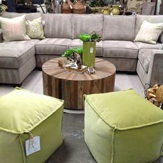 "Love this Cyrano Coffee Table by Gabby! Measures 39"" R and 16""H. Recycled elm. $879 perfect in front of a sectional or sofa! #gabby #coffeetable #roundcoffeetable #poufs #sectionals #shopthechartreuselook"