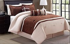 Modern 7 Piece Oxford Bedding Bronze Brown Beige Stripe Emboidered KING Comforter Set with accent pillows -- Find out more about the great product at the image link.