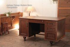 518J レトロな木製の書斎机 カフェ北欧デスクデンマーク Scandinavian nordic desk ¥20000yen 〆03月31日