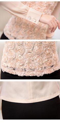 Nuevo estilo mujeres blusa de gasa Sexy flor con cuentas de encaje casuales de manga larga camisa de retazos ropa de mujer en Blusas y Camisas de Moda y Complementos Mujer en AliExpress.com   Alibaba Group