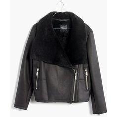 MADEWELL Shearling Motorcycle Jacket (3,015 ILS) ❤ liked on Polyvore featuring outerwear, jackets, true black, moto jacket, asymmetrical zip jacket, shearling moto jacket, motorcycle jacket and motorcycle biker jacket