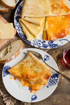 Ham and cheese filled crêpes