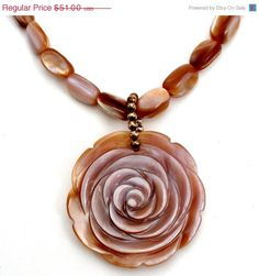 BIG SALE Carved MOP Rose Necklace Sterling Silver Mother of Pearl
