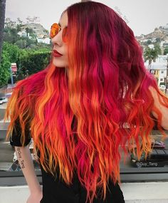 @hairbesties_ the full power of the Phoenix! Neons orange, Fuschia, Yellow with 5vr and 7rr base color from @kenraprofessional on my friend @spiralissa who is excited for these powerful glowing shades?