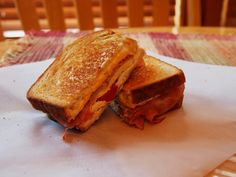 Gourmet Grilled Ham & Cheese Sandwich. W/ Red Peppers, Brown Sugar Ham, Pepper Jack, Cheddar, &  Neufchatel cheese.