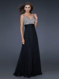Black Chiffon Sequined Bodice Sweetheart Neckline Sleeveless Floor-Length Prom Dress