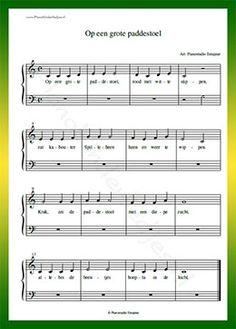 Op een grote paddenstoel - Gratis bladmuziek van kinderliedjes in eenvoudige zetting voor piano. Piano leren spelen met bekende liedjes.