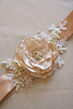 Champagne Bridal Flower Sash Wedding Flower Belt Champagne Dress Sash Vintage Style Dress Accessory Caramel Tan Gold Lace Beaded Sash - W. Wedding Belts, Wedding Sash, Bridal Sash, Wedding Dresses, Garland Wedding, Ivory Wedding, Boho Wedding, Floral Wedding, Wedding Ceremony