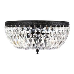 The Jessica three-light crystal basket flush mount chandelier makes a gracious accent in traditional and modern homes. A dazzling array of round and long-cut clear crystals ensures that this light fixture illuminates your home with a warm glow.