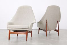 """Two beautifully sculpted lounge chairs, designed by Ib Kofod Larsen, produced by Carlo Gahrn. The chairs have been newly upholstered and covered with Fabric by Kvadrat. The design is documented 1957 in the magazine """"Mobilia"""". Lounge Chair Design, Mid Century Modern Design, Dining Chairs, Lounge Chairs, Mid-century Modern, Accent Chairs, Armchair, Furniture Design, Upholstery"""