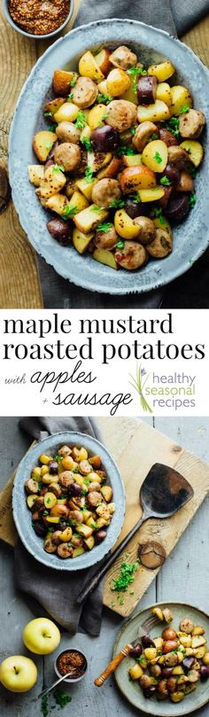 Friends, I know how crazy fall can be, but I've got your back! Check out these Roasted Potatoes with Apples, Sausage and Maple Mustard Glaze. With just 20 minutes of prep and only one pan you'll be able to put a delicious kid friendly dinner on the table Healthy Side Dishes, Vegetable Side Dishes, Side Dish Recipes, Vegetable Recipes, Dinner Recipes, Yummy Recipes, Healthy Sausage Recipes, Potato Dishes, Essen