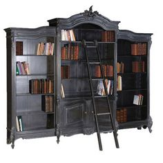 French Carved Bookcase Display with ladder, Black, $4,999.99 (http://frenchcountryfurnitureusa.com/bookcase-french-carved-bookcase-display-with-ladder-black/)