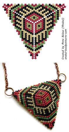 Beaded triangle diagram for peyote.  This and other patterns but you need to already know how to make the triangle.  #Seed #Bead #Tutorials