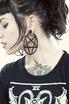 Small Leather Pentagram Hoop Earrings by GutsGlamGlory on Etsy, $35.00