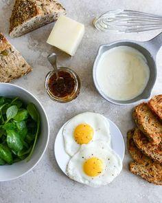 Gruyere, Fig Jam and Arugula Breakfast Sandwiches   howsweeteats.com