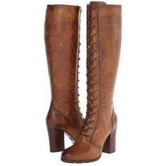 Frye Parker Tall Lace Up Women's Lace-up Boots (€355) ❤ liked on Polyvore featuring shoes, boots, heels, knee-high boots, platform heel boots, knee high laced boots, lace up knee boots, tall boots and high heel boots