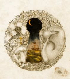 illustration poetry -  love the soft lines, surreal keyhole and autumnal themes - can't find source to credit artist