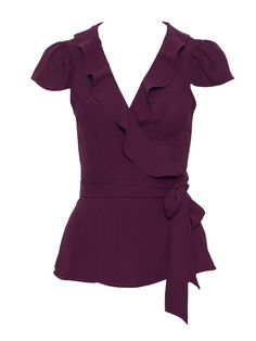 In a rich wine colour-way, the Antoinette Top is a wrap style with a frill neckline. It has a modest cap sleeve, making it perfect for the office, just team with a pencil skirt. Blouse Styles, Blouse Designs, Fashion Moda, Womens Fashion, Casual Dresses, Fashion Dresses, Pakistani Formal Dresses, Fancy Tops, Business Casual Attire