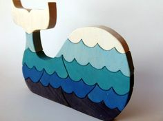 Blue Painted Whale Wood Puzzle with Waves by berkshirebowls, $24.99