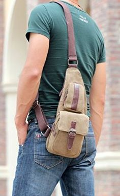 Good&god Men's Hiking Waist Pack Travel Crossbody Chest Backpack Shoulder Bag Khaki