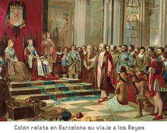 Cristobal Colon relata su viaje a los Reyes.