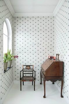 polka dot walls - cute for a closet