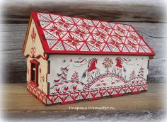 Купить Чайный домик - ярко-красный, чайный домик, мезенская роспись, шкатулка, подарок, фанера