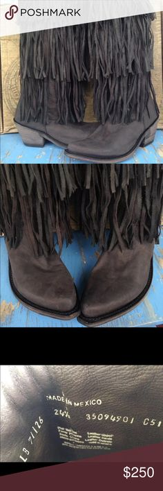 """Brand New Liberty Black Fringe Cowboy Boots 7.5 ONLY 2 PAIR LEFT!! These Brand New In Box Women's Liberty Black """"Res Vegas"""" Black Fringe Tall Western Cowboy Boots, size 7.5. Great for this coming Colder Season. Perfect Christmas gifts as well. The only sizes (2) that I have is 7.5, So get these while you can!! The size on the inside says: 24 1/2, that is the Mexico size for 7.5. Please keep in mind these are real leather and all boots fit differently. Please contact me if you are unsure…"""