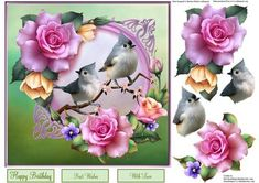 Summertime Roses Topper with Decoupage on Craftsuprint - Add To Basket!