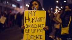 A female protester appeared in New York on 4 December 2014