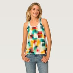 Red Blue Green Yellow White Abstract Pattern Tank Top - cyo diy customize unique design gift idea