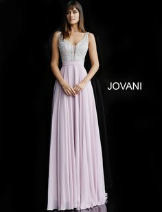 172d28e3d27b This Jovani 64298 sleeveless chiffon formal dress with an A-line silhouette  features a beaded