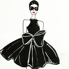 illustration by aishwarya _su fashion illustration,black dress with bow paired with shades and red lipstick