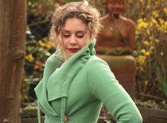 Jacke aus Wolle Walkjacke Brautjacke minze