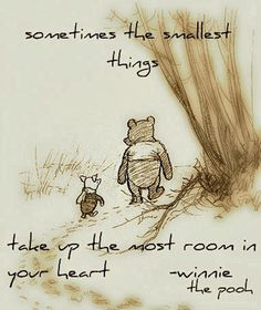 """So true... """"Sometimes, says Pooh, the smallest things take up the most room in your heart."""""""