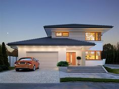 Karat 2 is a project of a modern two-story house designed for a family of four. Two Story House Design, 2 Storey House Design, Home Building Design, Home Design Plans, Roof Design, Exterior Design, Minimal House Design, Modern Family House, Smart Home Design