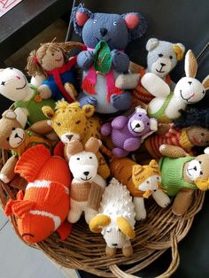 Hand-knit stuffed toys