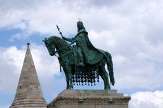 A statue against blue sky.