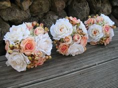 SILK Bouquets in cream coral with berrys 3x by Keepsakebouquets, $225.00